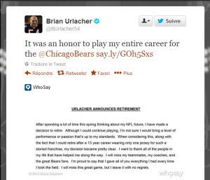 Brian Urlacher annonce sa retraite sur Twitter