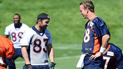 Peyton Manning et son nouveau coéquipier Wes Welker