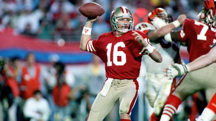 """Joe Montana. """"Comeback Kid"""" était l'homme des grands rendez-vous. 4 victoires en Super Bowl et 3 fois MVP."""