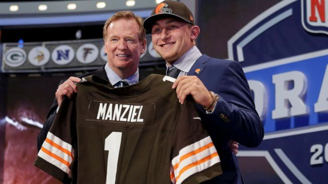 La star médiatique de la Draft 2014, le QB Johnny Manziel, drafté par Cleveland (photos : ABC)