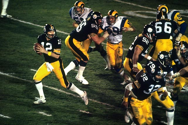 Terry Bradshaw lors du Super Bowl XIV, remporté par les Pittsburgh Steelers face aux Los Angeles Rams