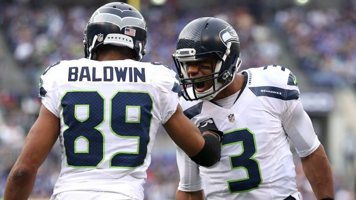 "Russell Wilson et Doug Baldwin sont ""on fire"" (Patrick Smith - Getty)"