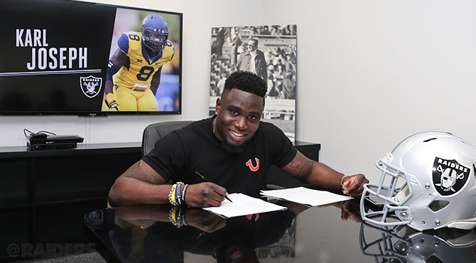 Karl Joseph a signé son contrat rookie (Raiders.com)
