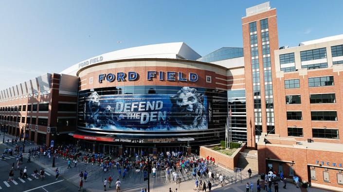 L'entrée principale du Ford Field (Sports Bucket List)