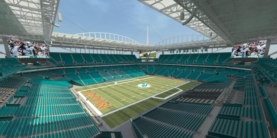 Le New Sun Life Stadium, avec son toit canopée (The Tropical Sun)