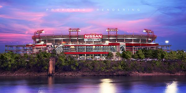 Le Nissan Stadium depuis la rivière Cumberland (Titans Online)