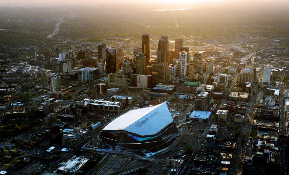 Le flambant neuf US Bank Stadium, non loin du centre-ville de Minneapolis