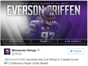 Everson Griffen, élu meilleur défenseur de la semaine dans la NFC (twitter)
